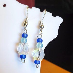 Silver Tone Hook Glass Square Bead Dangle Earrings
